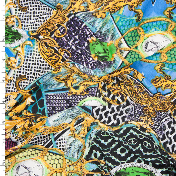 Diamonds and Scrollwork Poly/Lycra Knit Print Fabric By The Yard