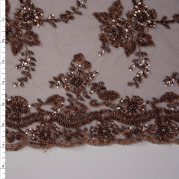 Brown and Silver Floral Beaded Bridal Lace Fabric By The Yard