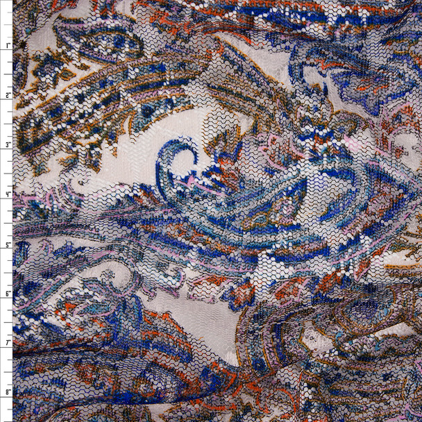 Vibrant Paisley Print on Offwhite Lightweight Floral Lace Fabric By The Yard