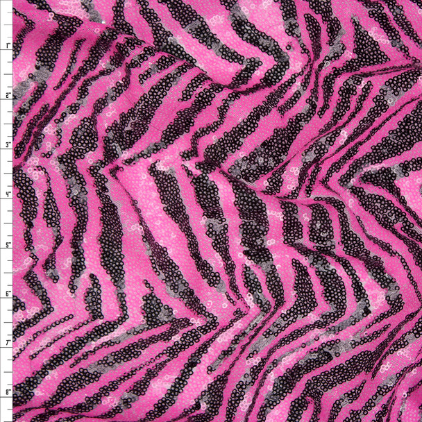 Neon Pink and Black Fashion Sequin Fabric By The Yard