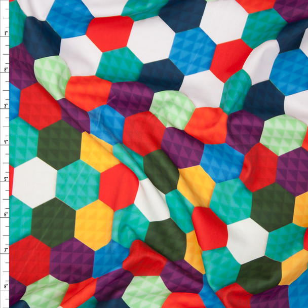 Colorful Layered Hexagon Print 4-way Stretch Nylon/Lycra Fabric By The Yard