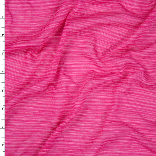 Hot Pink Striped Lightweight Sweater Knit