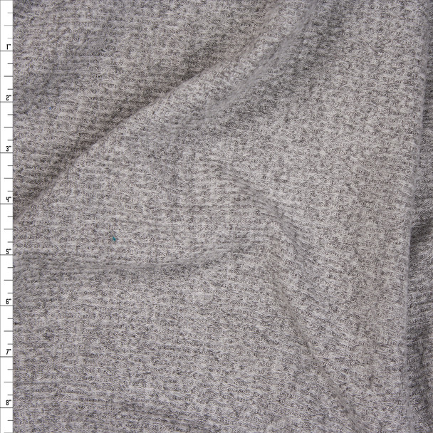 Heather Grey Brushed Ribbed Sweater Knit Fabric By The Yard