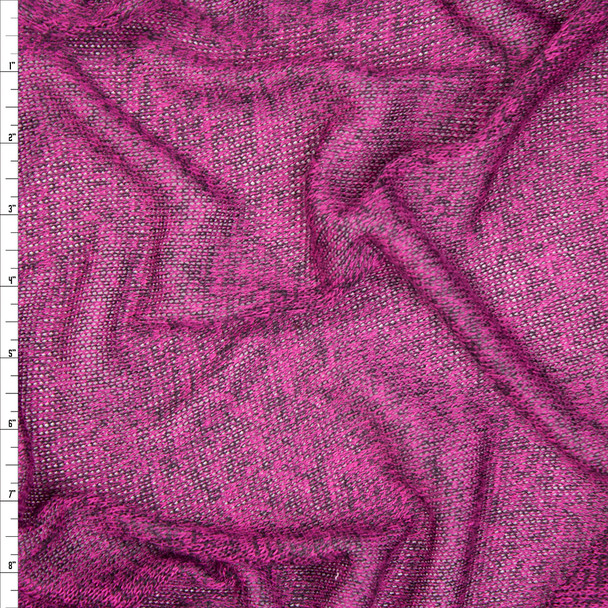 Hot Pink Heather Loose Weave Sweater Knit Fabric By The Yard