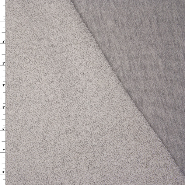 Heather Grey Light Midweight Cotton French Terry Fabric By The Yard - Wide shot