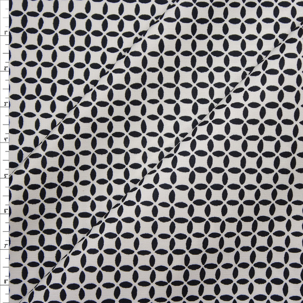 Black and White Geometric Cotton/Rayon Bengaline Fabric By The Yard
