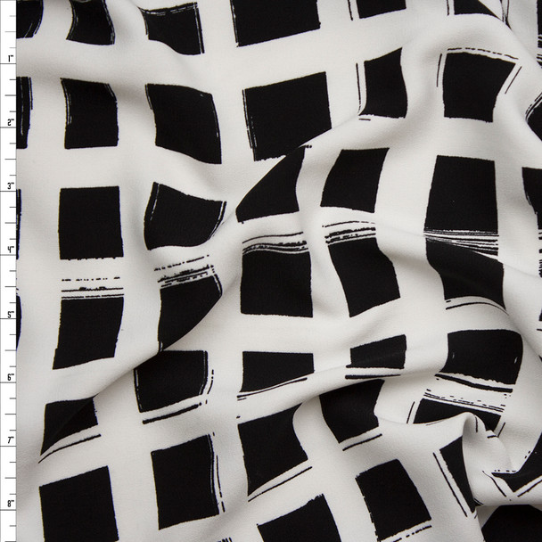 Black and Offwhite Brushstroke Windowpane Check Lightweight Designer Crepe Fabric By The Yard