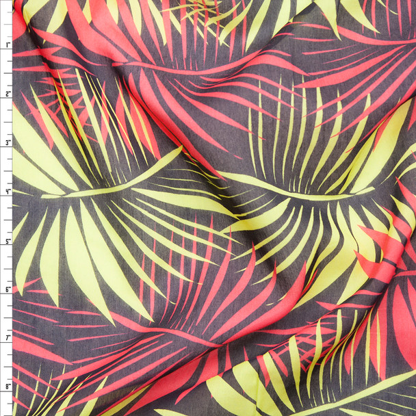 Red and Lime Palms on Brown Lightweight Cotton Voile from 'Milly' Fabric By The Yard