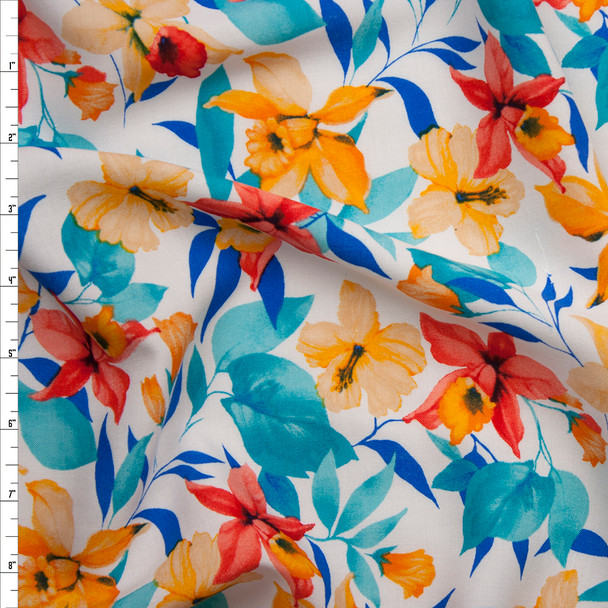 Red and Yellow Daffodils on White Rayon Challis Fabric By The Yard