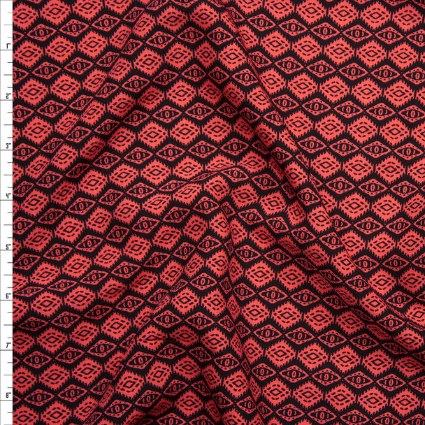 Neon Red on Black Mini Southwestern Diamonds Rayon Challis Fabric By The Yard