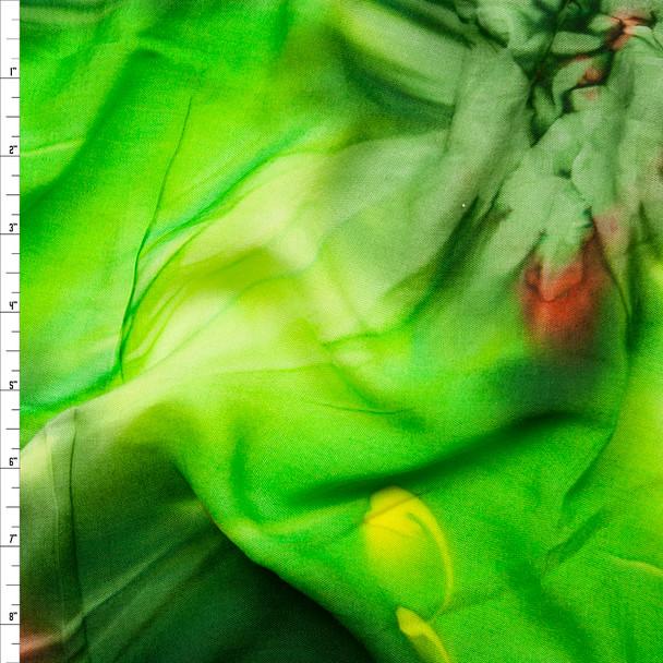 Kiwi Green Tie Dye Rayon Challis Fabric By The Yard