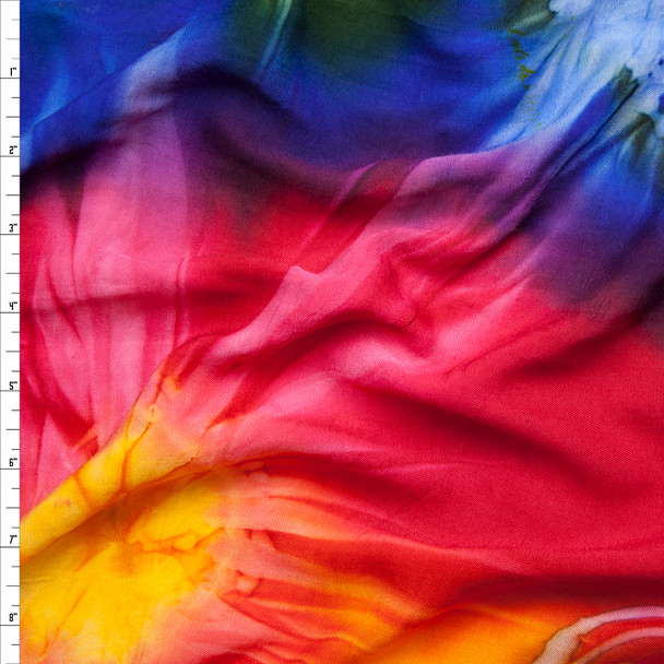 Multi Color Tie Dye Rayon Challis Fabric By The Yard