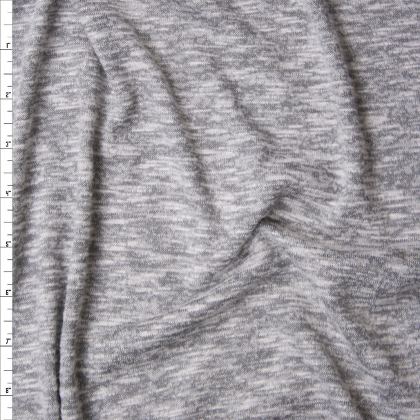 Light Grey Marled Brushed Stretch Sweater Knit Fabric By The Yard