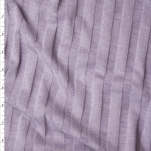 Muted Lilac Wide Ribbed Sweater Knit Fabric By The Yard