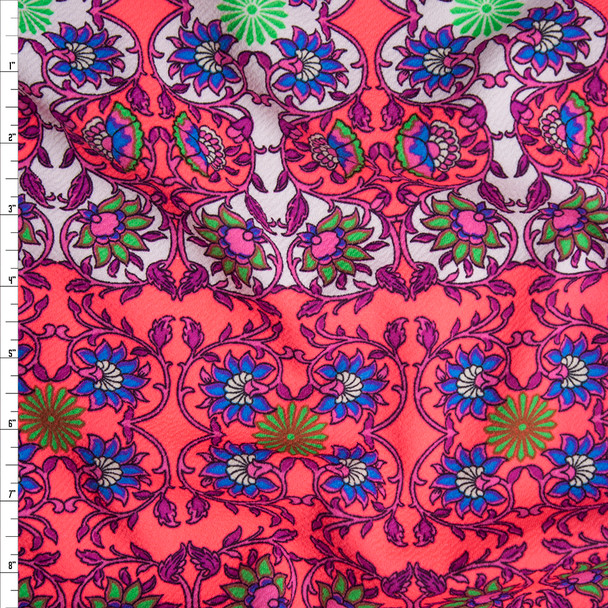 Neon Pink, White, and Purple Scrollwork Liverpool Knit Fabric By The Yard
