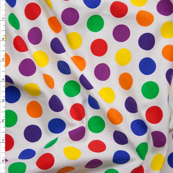 Multi Color Dot Print Cotton/Lycra Jersey Knit Fabric By The Yard