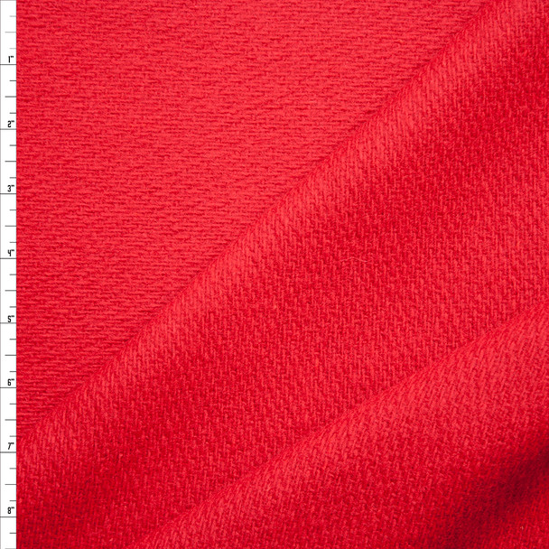 Red Twill Weave Brushed Wool Coating Fabric By The Yard