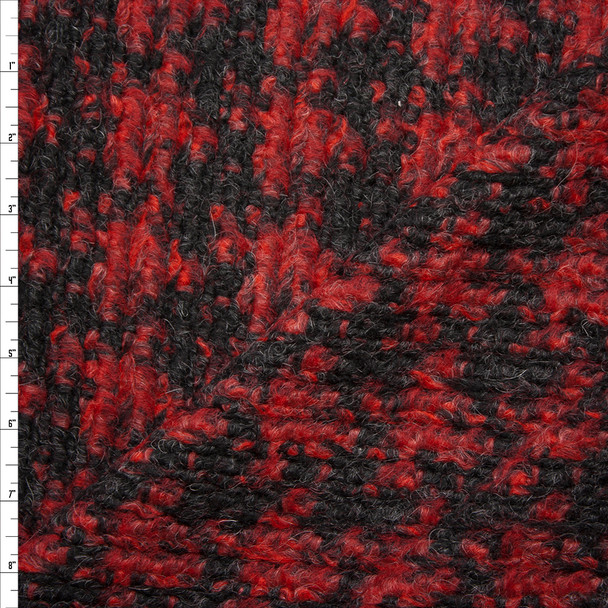 Red and Black Houndstooth Heavy Wool Sweater Knit Fabric By The Yard