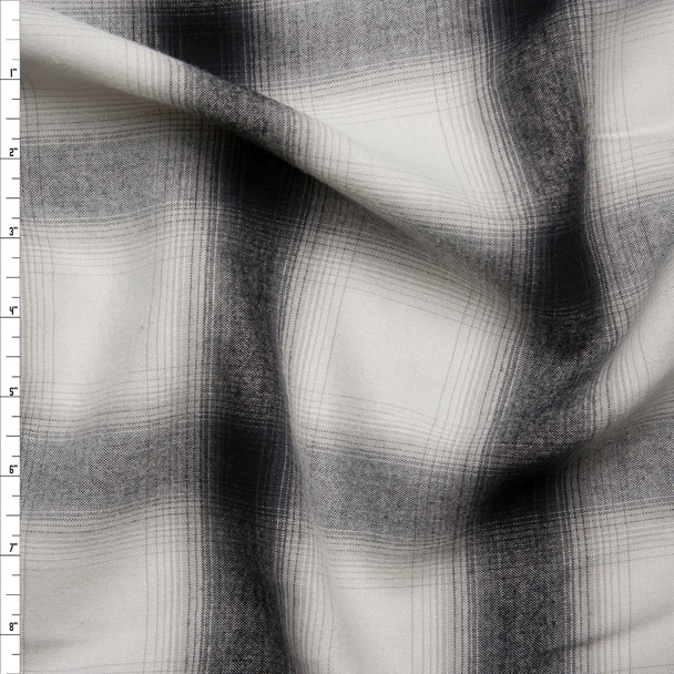Black and White Lightweight Flannel Shirting  Fabric By The Yard