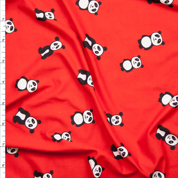 Tossed Pandas on Bright Red Double Brushed Poly Spandex Print Fabric By The Yard