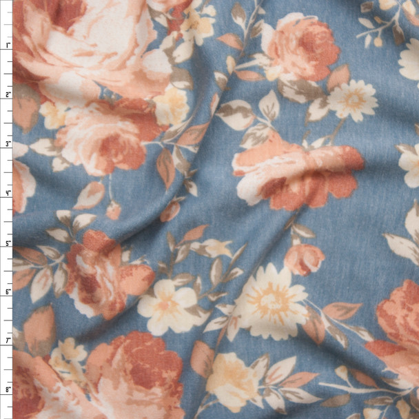 Peach and Ivory Flowers on Light Grey French Terry Fabric By The Yard