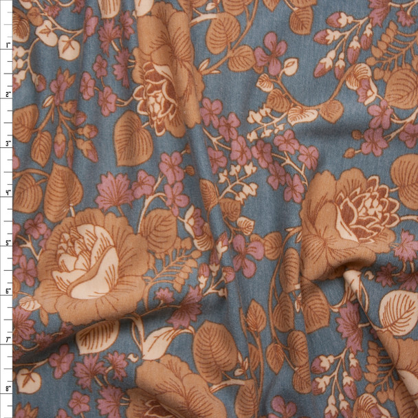 Tan and Pink Scrolling Floral on Grey French Terry Fabric By The Yard