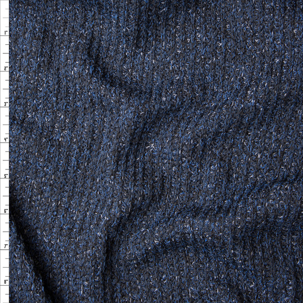Navy, Black, and Grey Mottled Ribbed Sweater Knit Fabric By The Yard