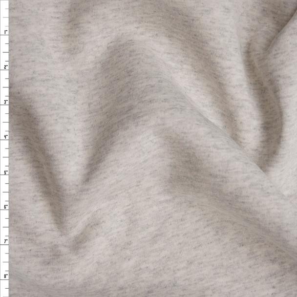 Ivory Grey Heather Midweight Sweatshirt Fleece Fabric By The Yard