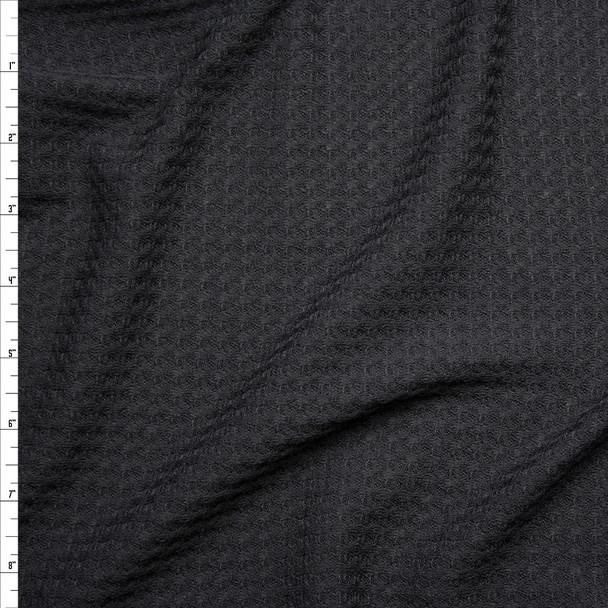 Black Soft Waffle Sweater Knit Fabric By The Yard