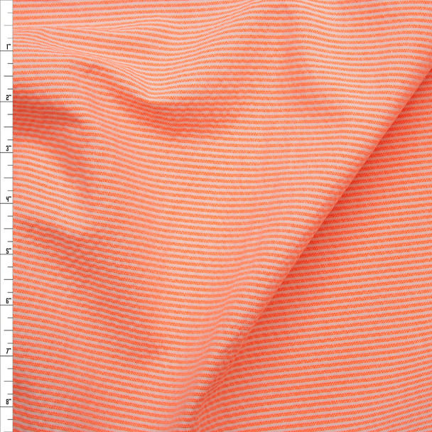 Neon Orange and White Mini Stripe Midweight Seersucker Fabric By The Yard