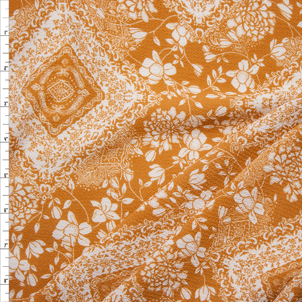 Dijon and Ivory Floral Medallions Bubble Crepe Fabric By The Yard