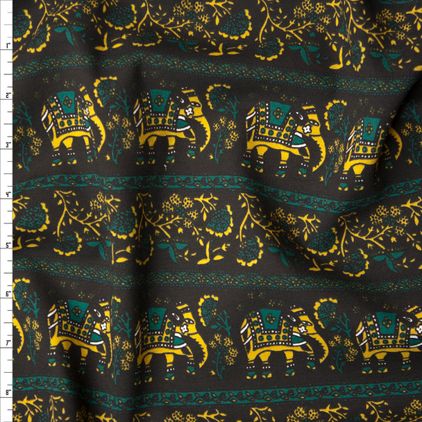 Black, Mustard, and Emerald Elephant Stripe Stretch Midweight Jersey Knit Fabric By The Yard