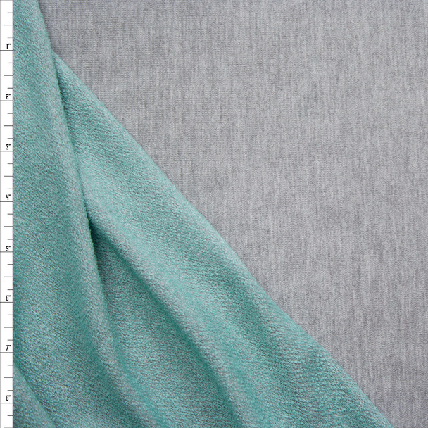 Heather Grey Lightweight French Terry With Aqua Back Fabric By The Yard