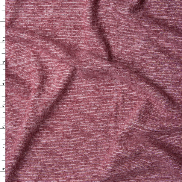 Pink and Wine Lined Stretch Brushed Sweater Knit Fabric By The Yard