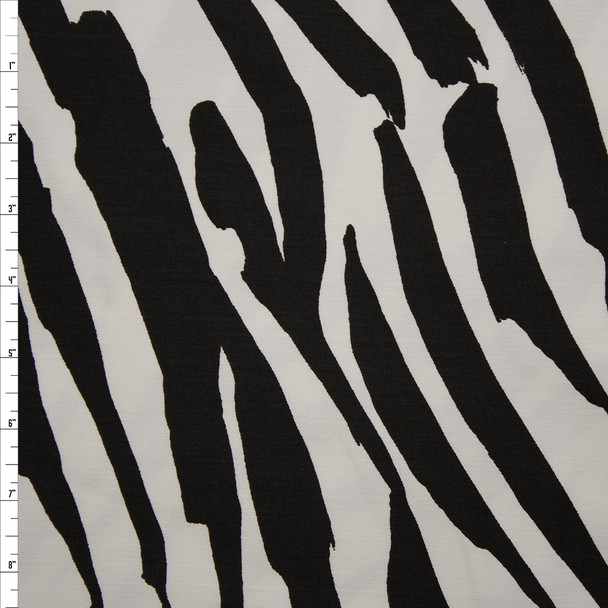 Black and White Brushstroke Zebra Print Stretch Twill from 'Hudson Jeans' Fabric By The Yard