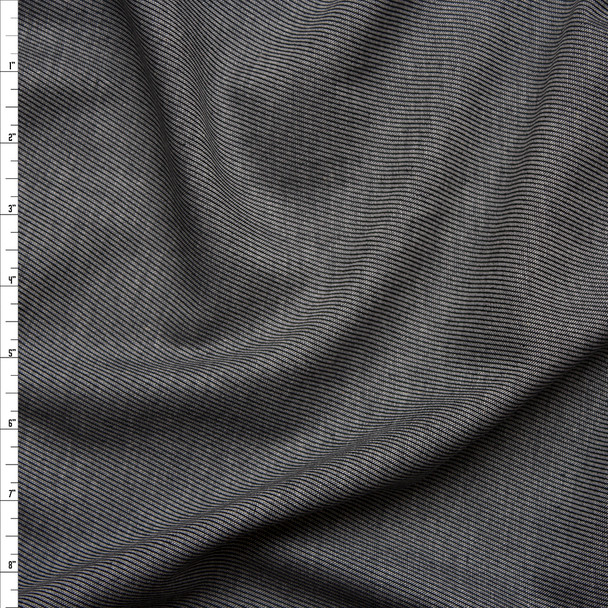 Grey Diagonal Line Selvage Chambray Fabric By The Yard