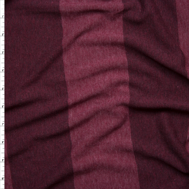 Wine Wide Stripe Lightweight Jersey Knit Fabric By The Yard