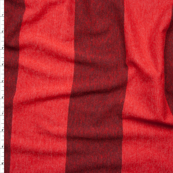 Red Wide Stripe Lightweight Jersey Knit Fabric By The Yard