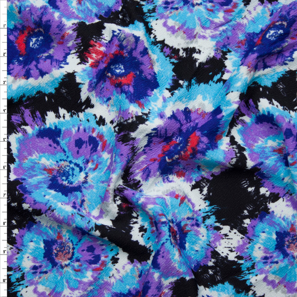 Light Blue and Purple Brushed Flowers on Black Liverpool Knit Fabric By The Yard