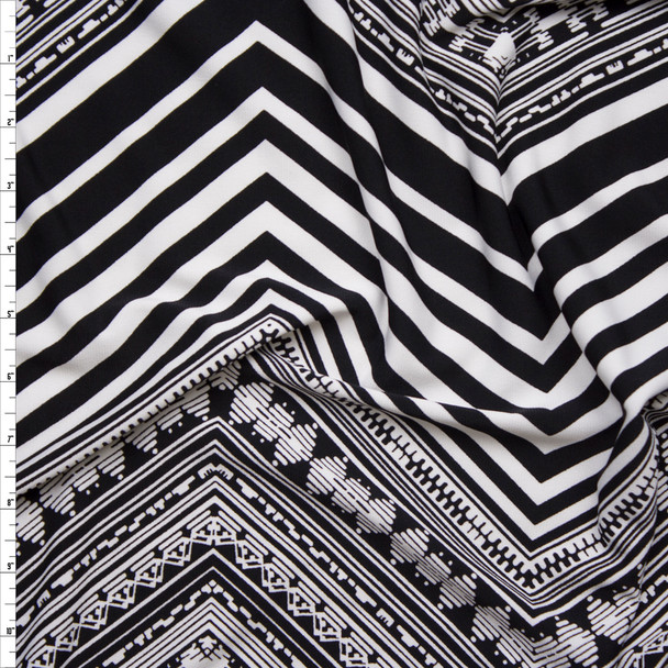 Black and White Patterned Chevron Lightweight Poly Knit Fabric By The Yard