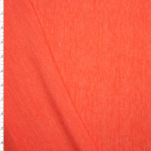 Tangerine Heather Lightweight Rayon French Terry Fabric By The Yard