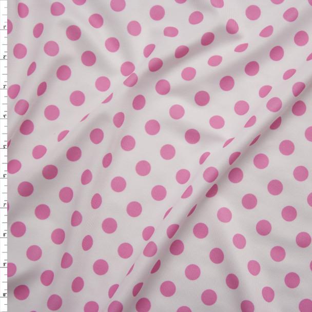 Hot Pink on White Polka Dot Stretch Nylon/Lycra Fabric By The Yard