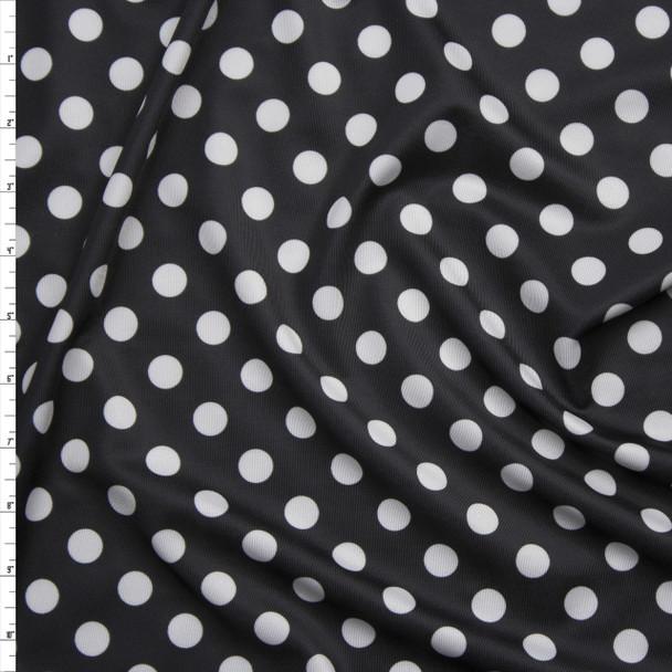 White on Black Polka Dot Stretch Nylon/Lycra Fabric By The Yard