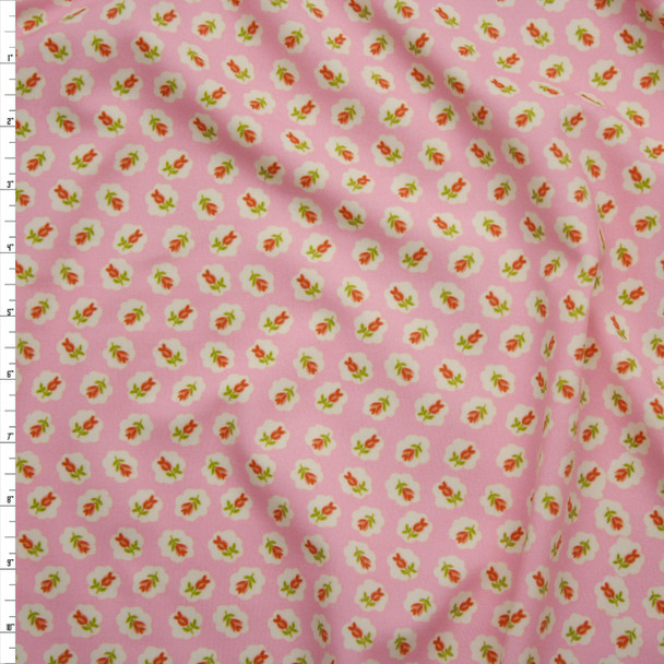 Red and Ivory Traditional Floral on Light Pink Nylon/Lycra Fabric By The Yard
