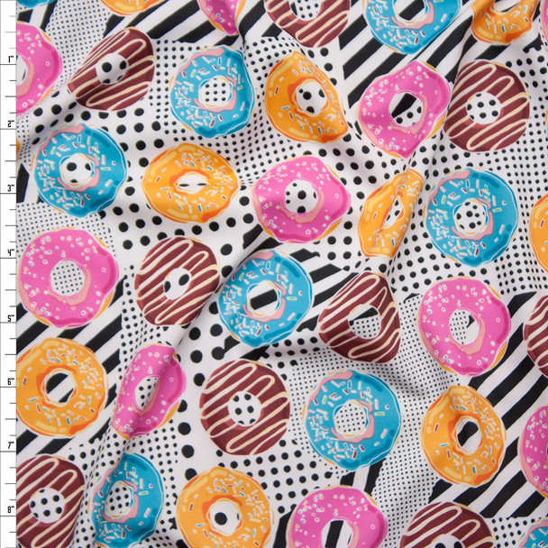 Bright Donuts on Black and White Dots and Stripes Spandex Print Fabric By The Yard
