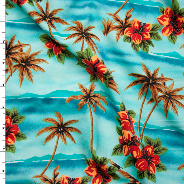 Tropical Palms and Flowers on Aqua Spandex Print Fabric By The Yard