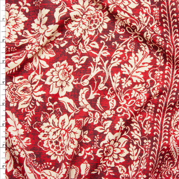 Tan and Wine Ornate Stripe Spandex Print Fabric By The Yard