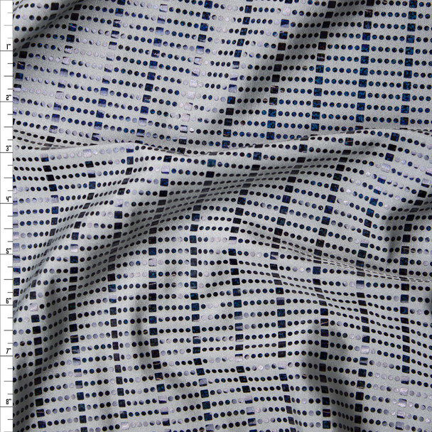 Holographic Black Dot and Square Sequins on Light Grey Nylon/Lycra Fabric By The Yard