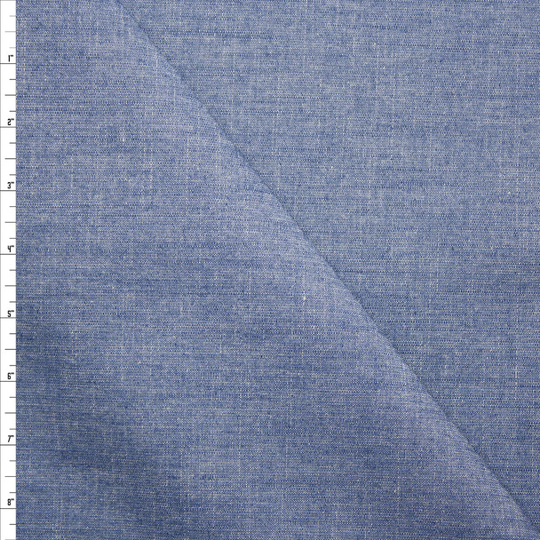 Bottomweight Medium Blue Structured Chambray Fabric By The Yard