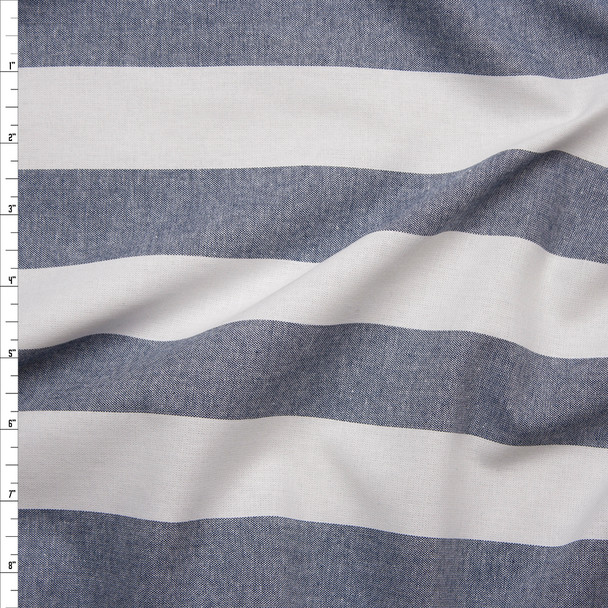 Blue and White Striped Fine Chambray Fabric By The Yard